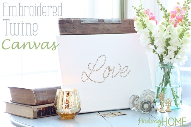 Embroidered twine canvas