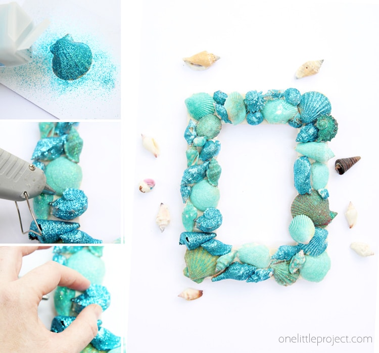 Summer Crafts Inspiration| Glitter Sea Shell Picture Frame