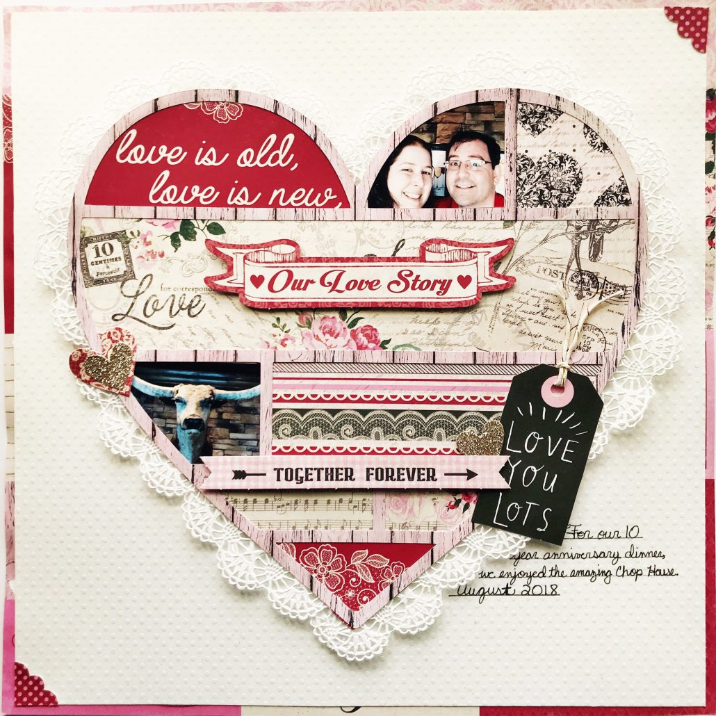 3 heart shaped scrapbook layouts