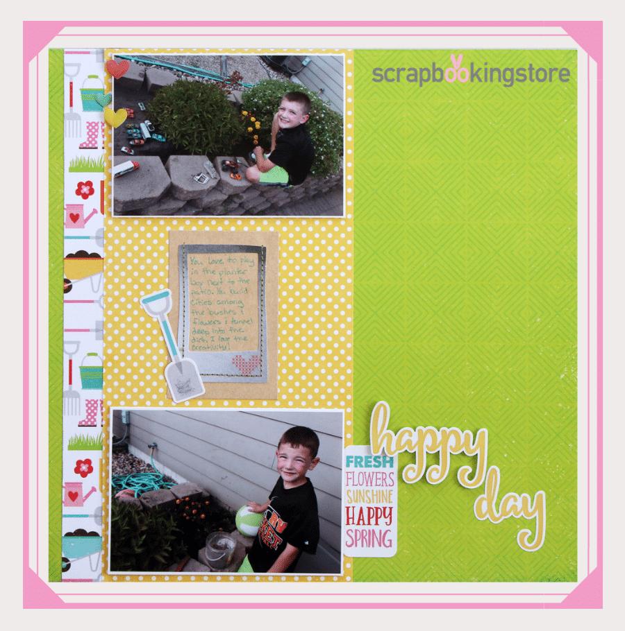 Happy Day Gardening Theme Spring Scrapbook Layout Ideas