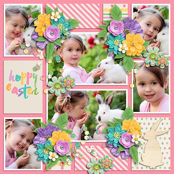 Easter bunny floral scrapbook layout