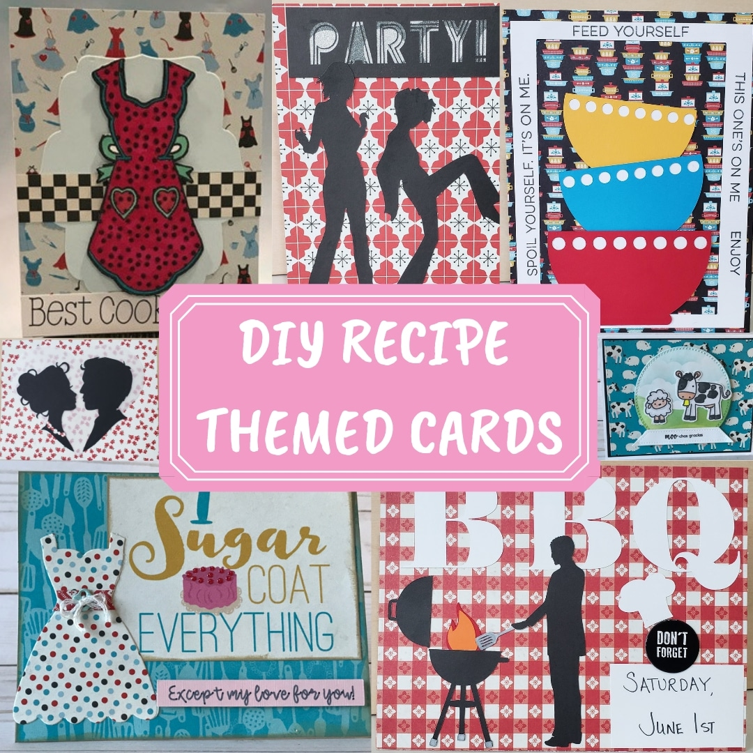 DIY RECIPE THEMED CARDS using Scrapbooking Store April 2019 Kit - full of kitchen, ingredient and farm themed patterned papers plus the upgrades included in the kit