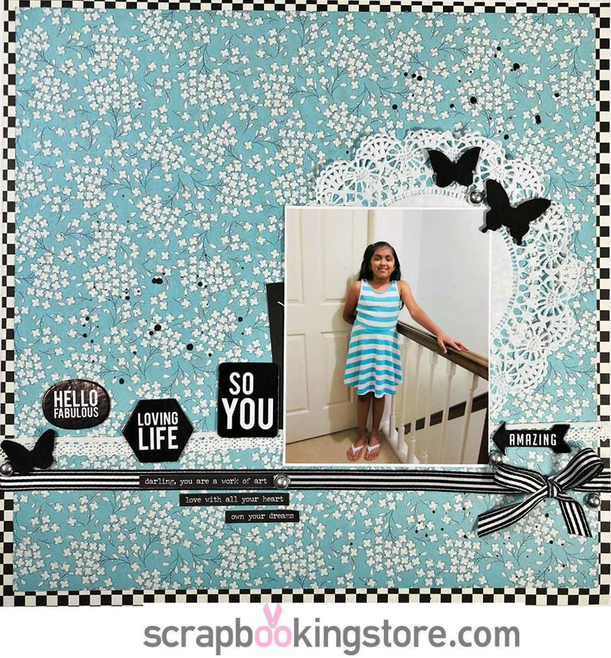 Monochromatic scrapbook layout by Becky using ScrapbookingStore April 2019 monthly kit with a girl photo