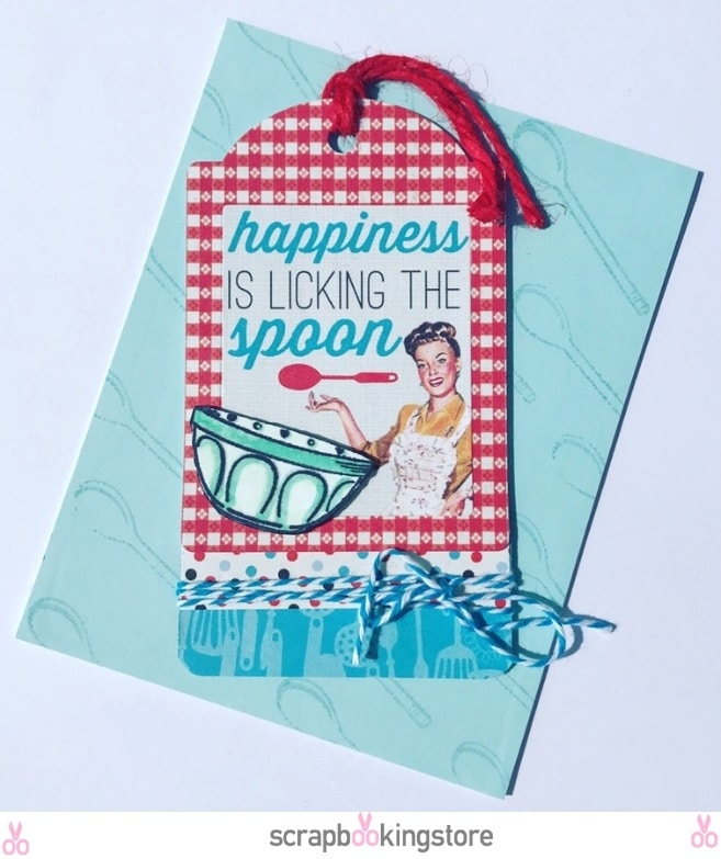 DIY Recipe Themed Cards - Tag card by Cindy using ScrapbookingStore April 2019 monthly kit