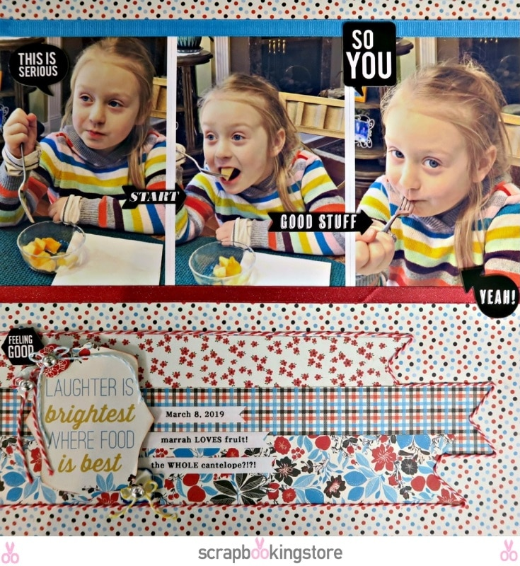 Fruity Obsession layout by Marci Bensing using ScrapbookingStore April 2019 monthly kit- a layout using a photo of her niece
