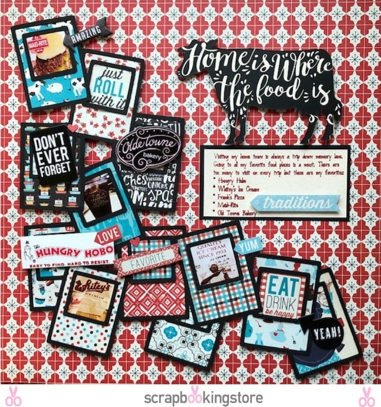 Hometown Food places scrapbook layout by Melissa Bierlein using ScrapbookingStore April 2019 monthly kit