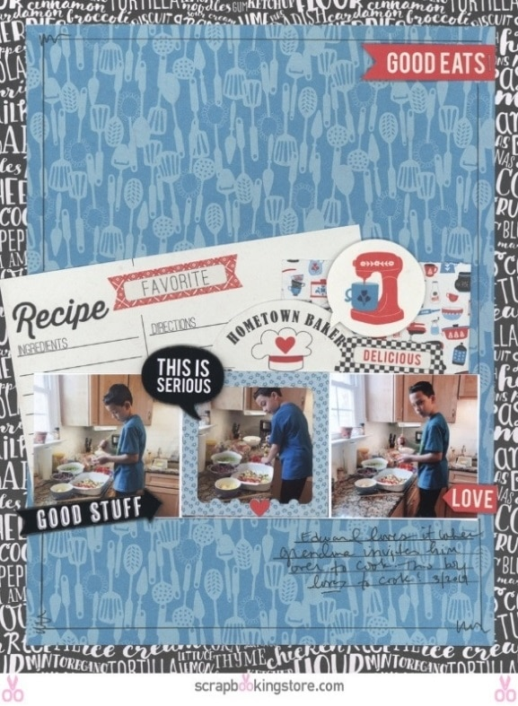 DIY Recipe Themed Layout- Young Chef layout by Nicole using ScrapbookingStore April 2019 monthly kit