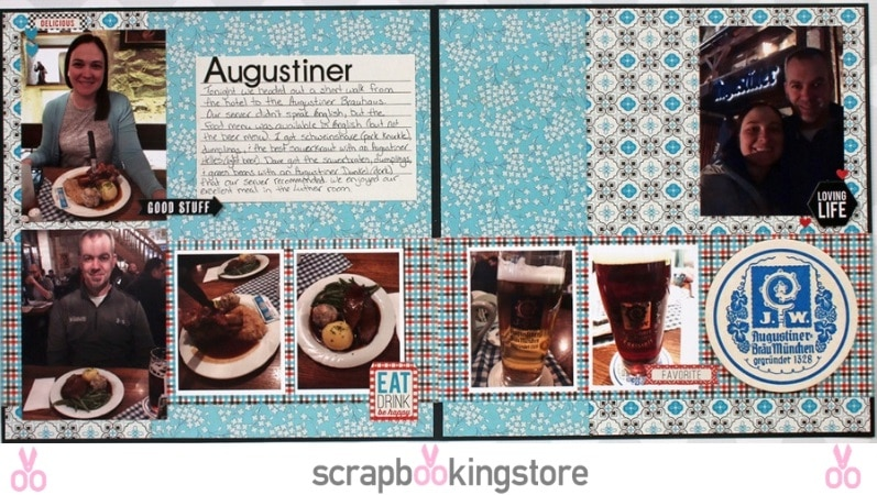 Romantic Dinner Date scrapbook layout by Sam Taylor using ScrapbookingStore April 2019 monthly kit