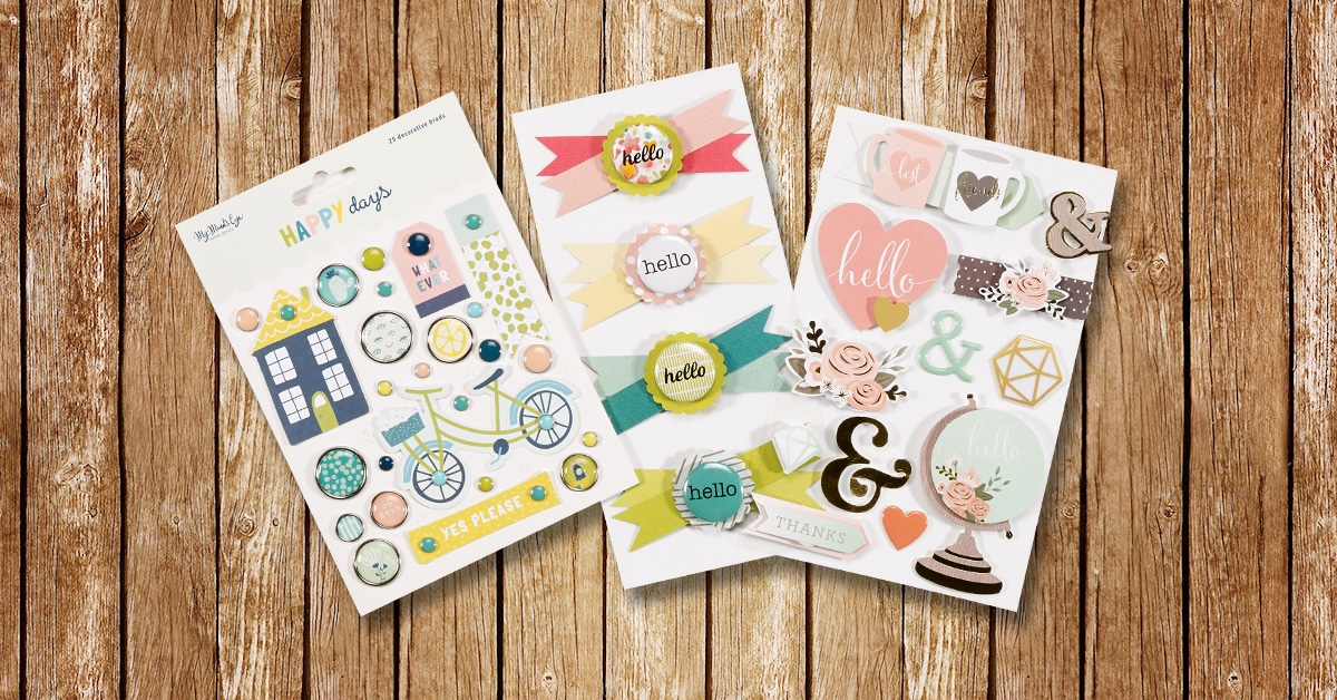 Happy Days collection by My Mind's Eye, My Mind's Eye Happy Days Brads, 25 pieces, American Crafts Hello Pretty Bows, 4 bows, Remarks Hello 3D Stickers, 12 pieces