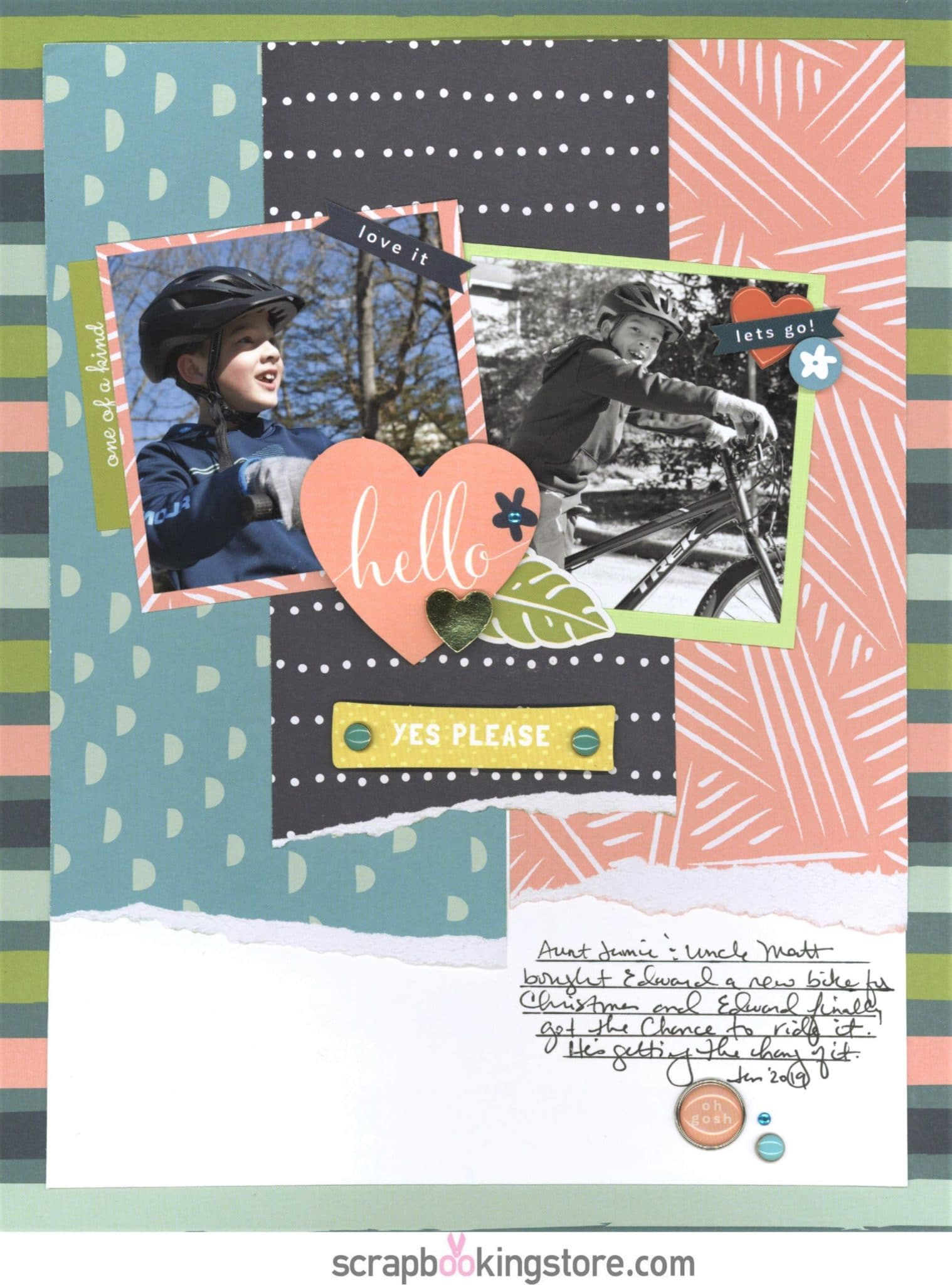"ScrapbookingStore May 2019 kit - Nicole used all crafting materials from our May 2019 monthly kit called ""Happy Days"" collection by My Mind's Eye, which also includes Dear Lizzy ""Oh Hello"" from the Lovely Day collection and Maggie Holmes ""Summertime"" from the Carousel collection"
