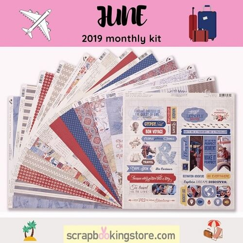 """ScrapbookingStore June 2019 kit - June 2019 monthly kit called """"Quest"""" collection by Authentique"""