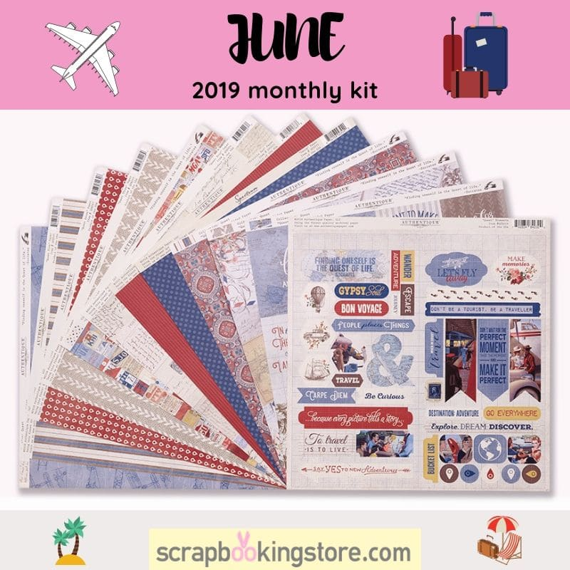 "ScrapbookingStore June 2019 kit - June 2019 monthly kit called ""Quest"" collection by Authentique"