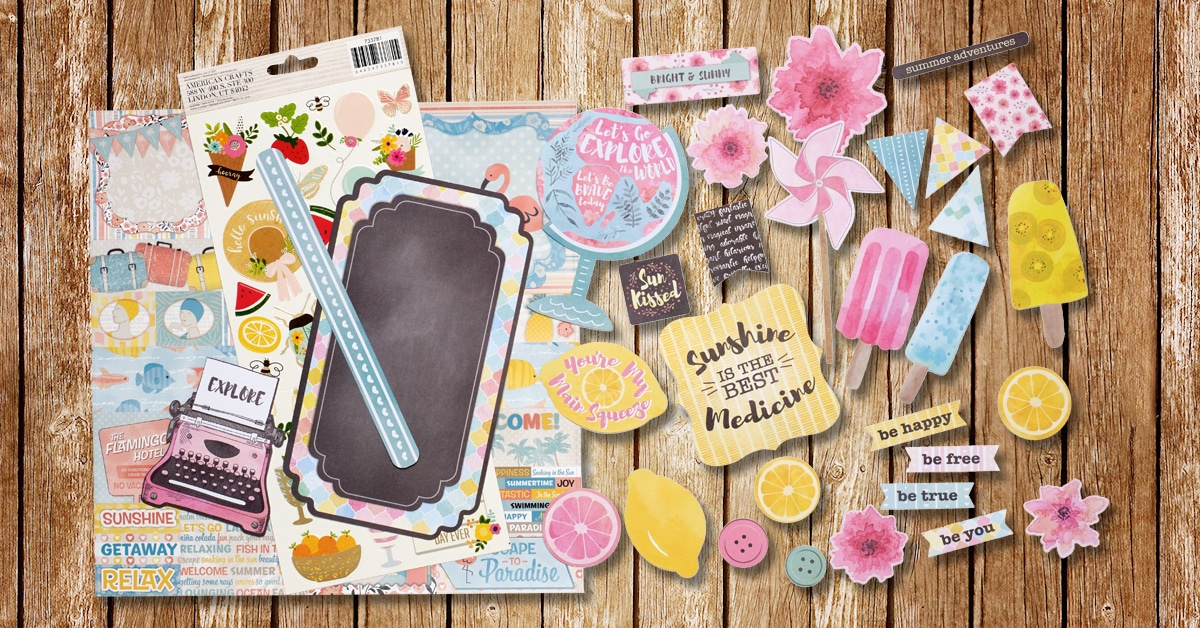 "ScrapbookingStore monthly subscription kit - July 2019 kit called ""Escape to Paradise""collection by Bo Bunny"