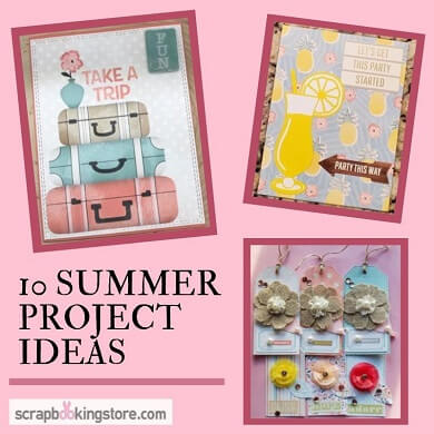 "ScrapbookingStore July 2019 kit - Our Design Team members used all crafting materials from our July 2019 monthly kit called ""Escape to Paradise""collection by Bo Bunny"