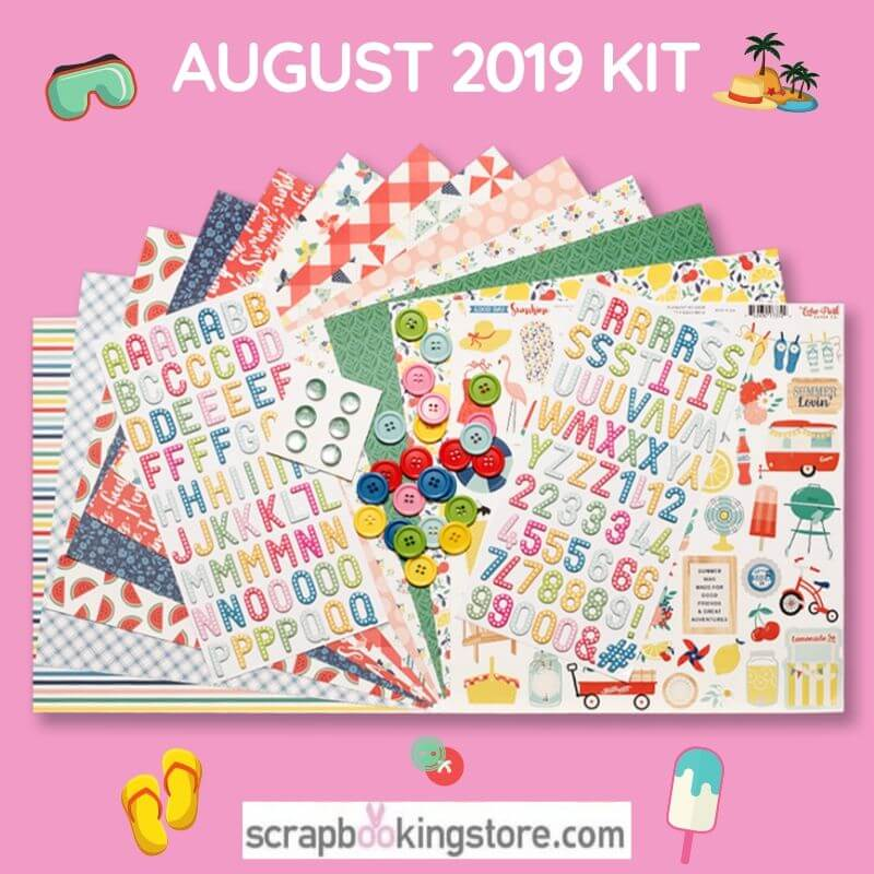 "ScrapbookingStore August 2019 kit - monthly kit called ""Good Day Sunshine"" by Echo Park"