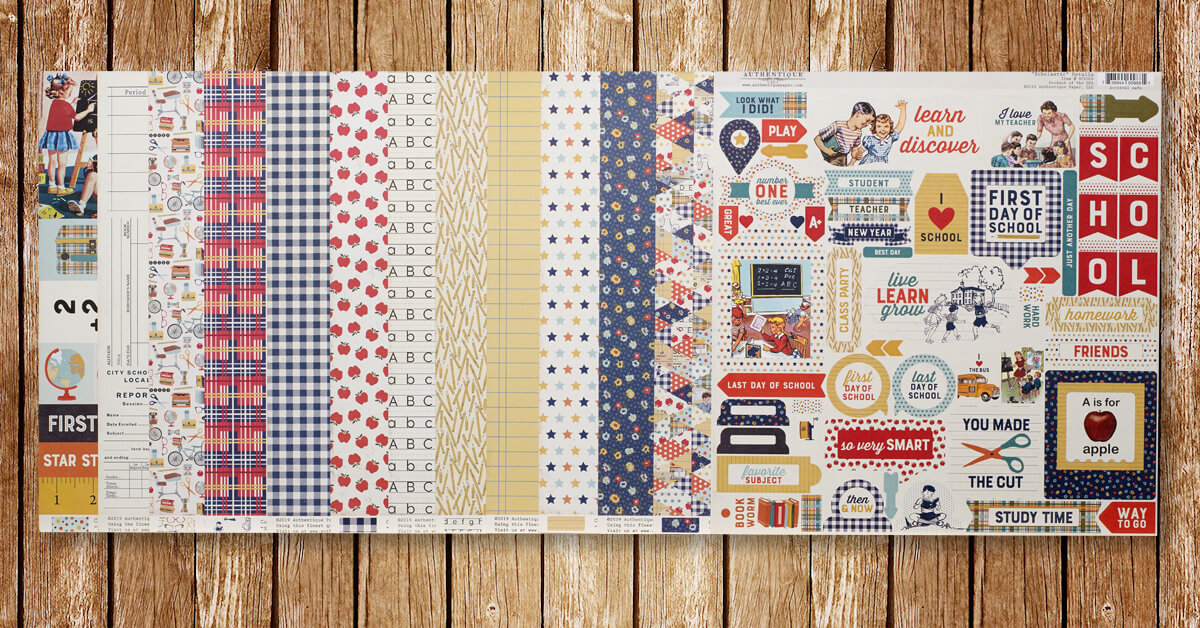 """ScrapbookingStore September 2019 kit - monthly kit called """"Scholastic"""" by Authentique"""