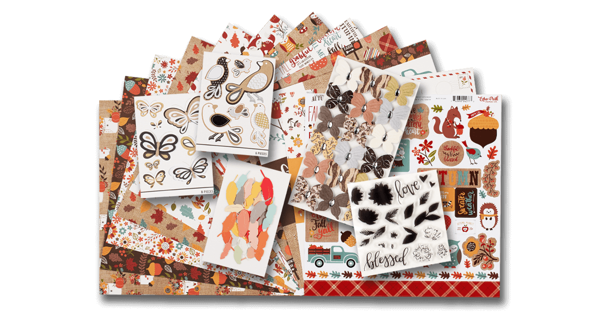 ScrapbookingStore November 2019 monthly kit called Celebrate Autumn by Echo Park.