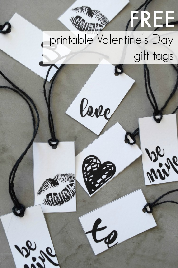 Black Printable Valentine's Day Gift Tags