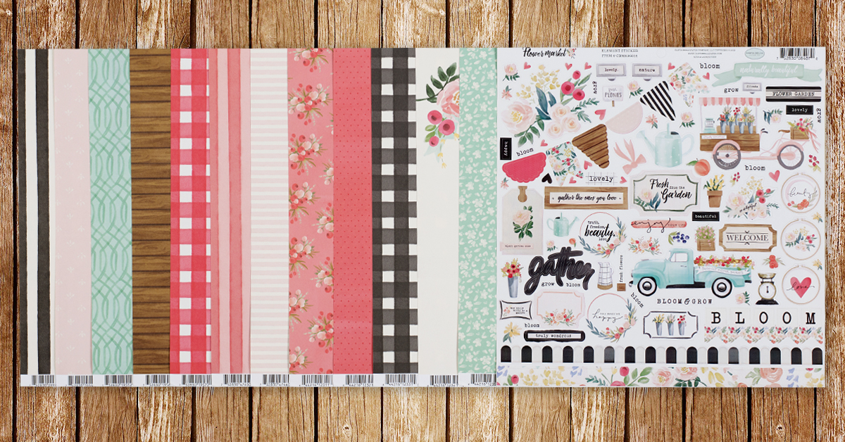 ScrapbookingStore February 2020 monthly kit called Flower Market collection by Echo Park - scrapbooking kit reveal