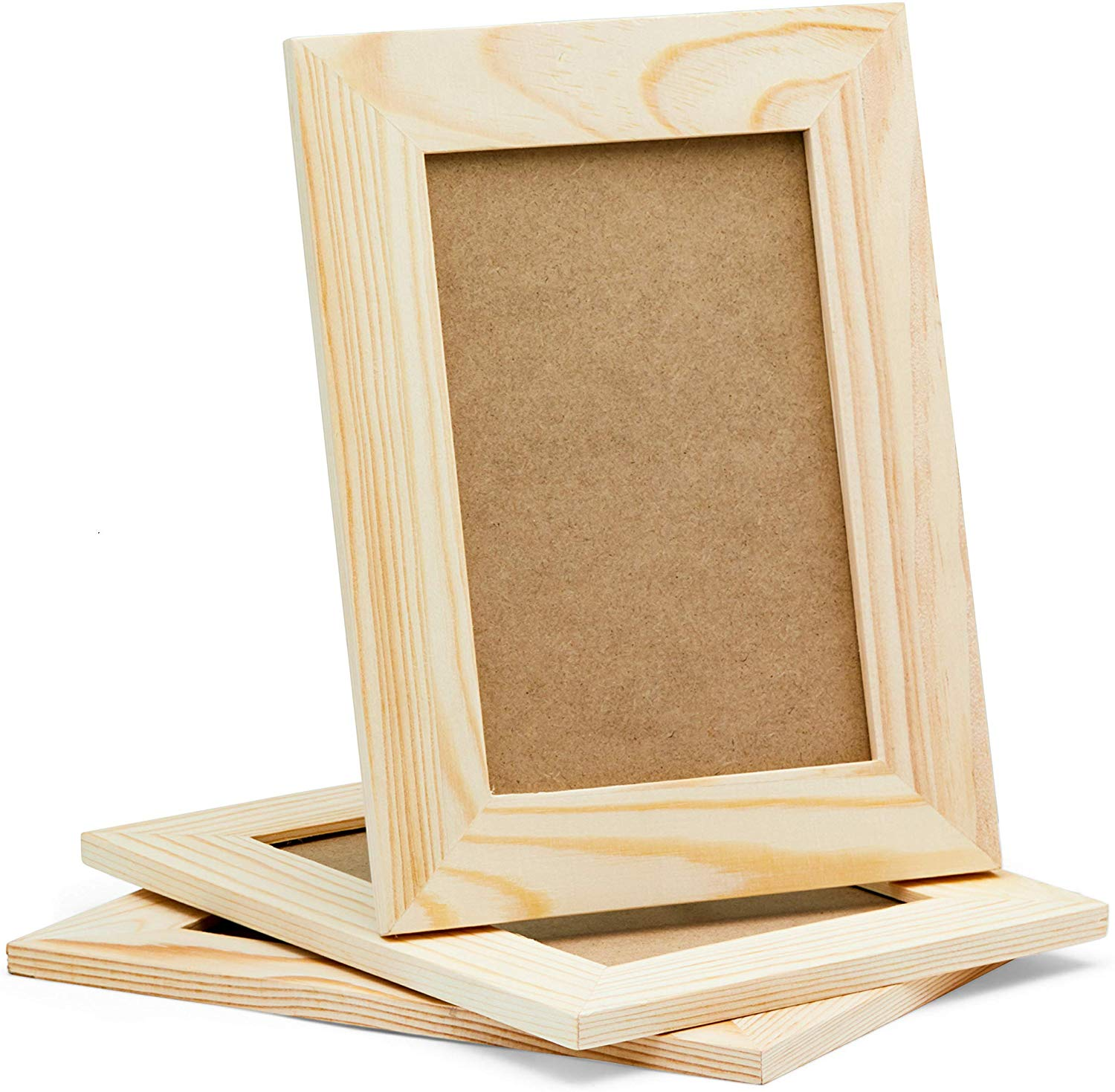 These 3 picture frames are made of solid pine wood, and can stand in both portrait and landscape positions with the included standing pegs, or they can be hung on the wall. They actual frame is 6x8 inches and it hold 4x6 photos - Valentine's Day gift ideas