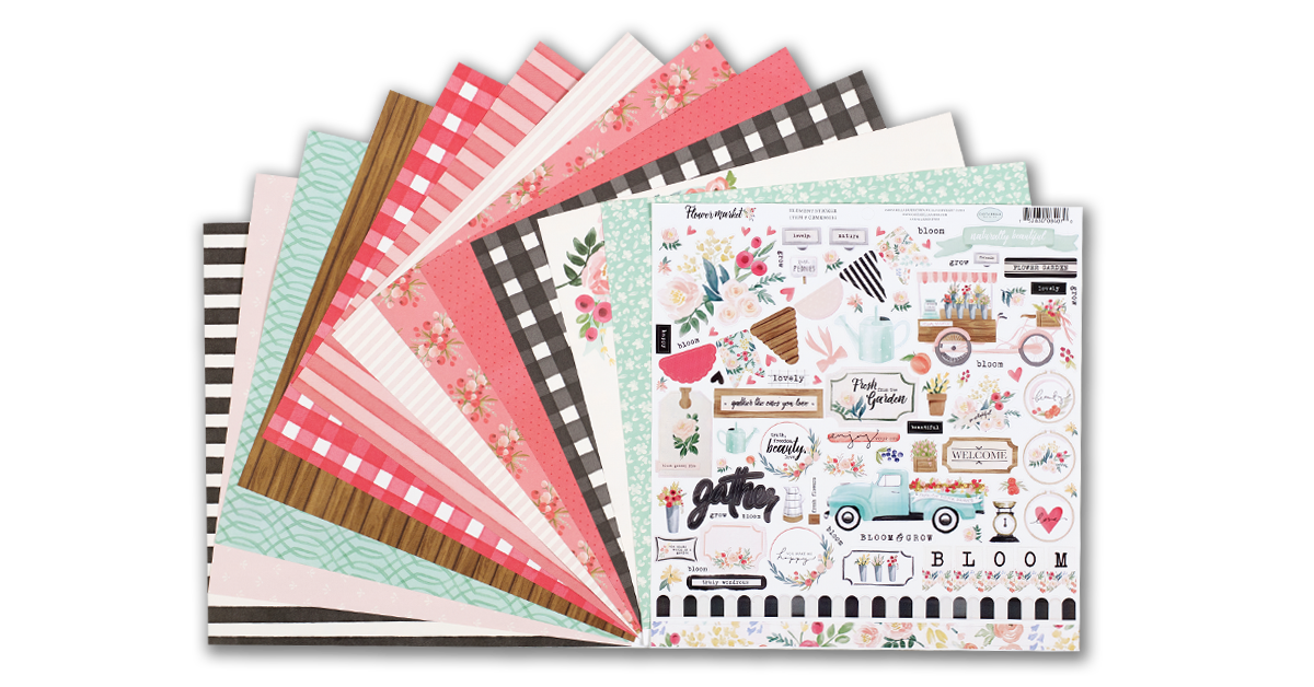 scrapbooking kit reveal is the charming Flower Market collection by Echo Park.