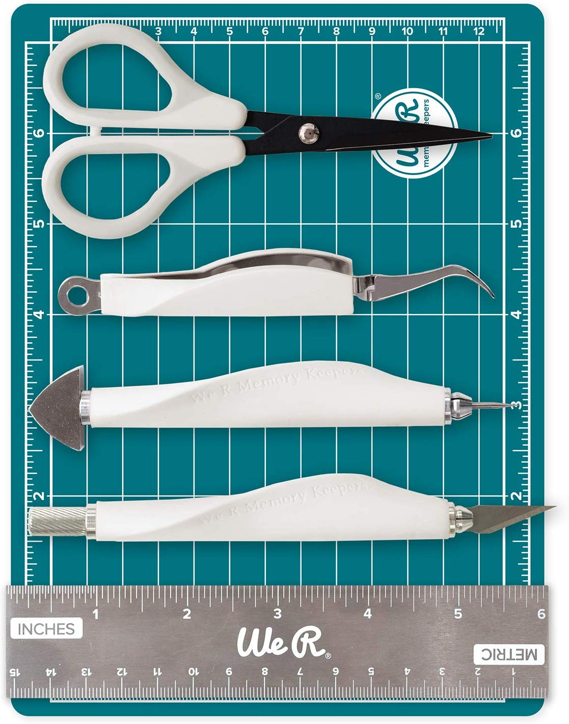 All in on toolkit - Easily handle any crafting or art project with this all-inclusive mini tool kit. Includes 6 x 8-inch magnetic mat, 6-inch ruler, precision tweezers, brad setter, art knife and 5-inch precision scissors.
