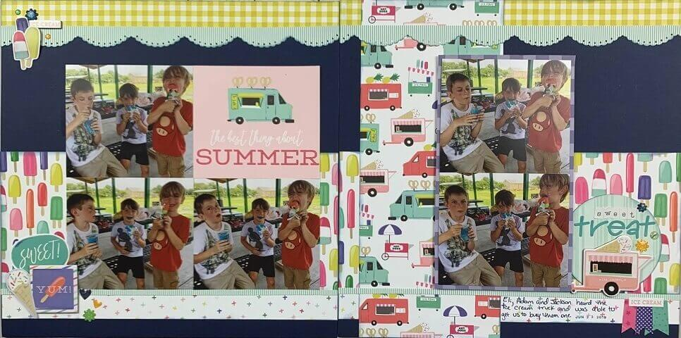 summer scrapbook ideas, sun layout, cool, scrapbooking tutorial, monthly kit layouts, paper crafts, ice cream