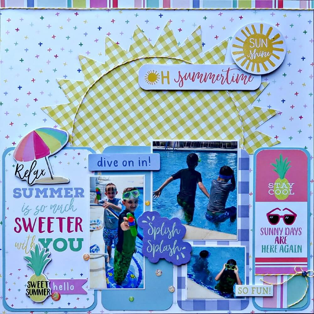 summer scrapbook ideas, sun layout, cool, scrapbooking tutorial, monthly kit layouts, paper crafts