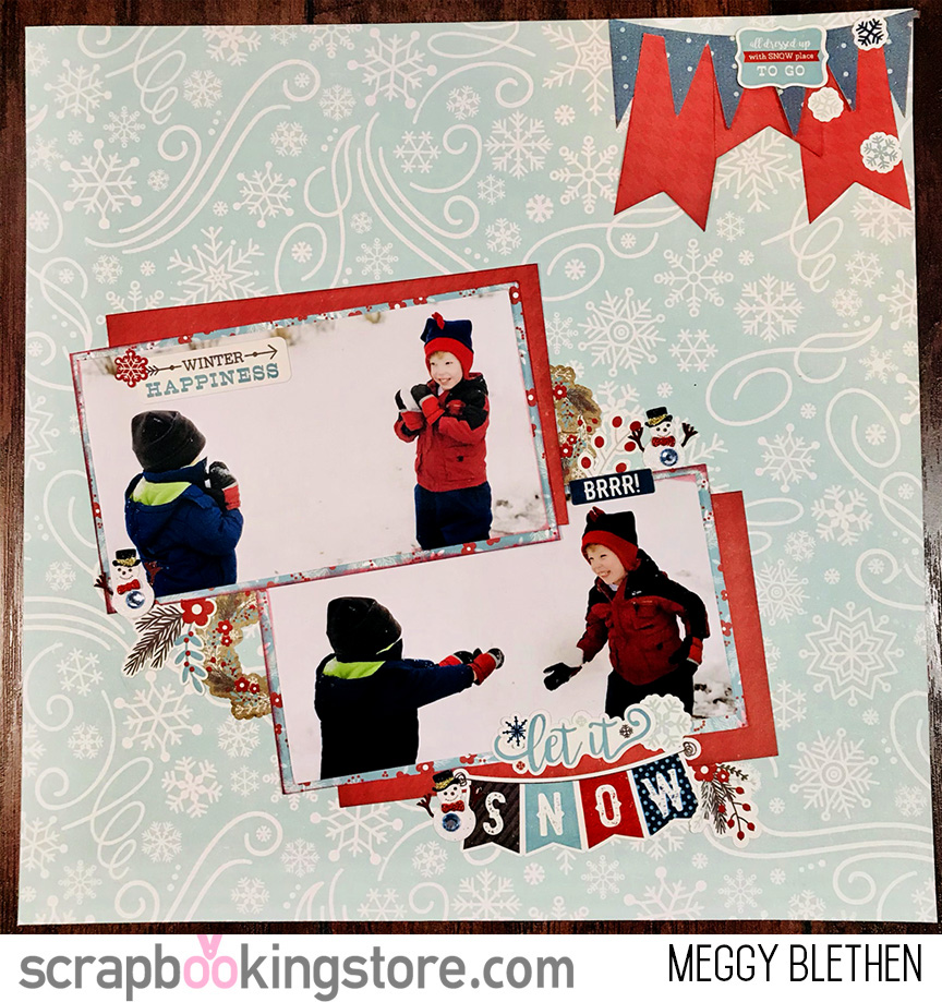 winter delight scrapbook cheerful kids playing in the snow